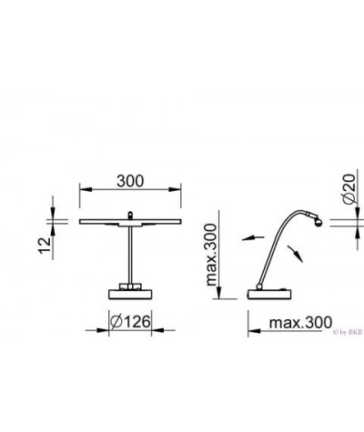 Lampe halogène pour piano chrome poli, 2 flammes